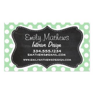 Celadon Green Polka Dots; Chalkboard look Business Card Templates