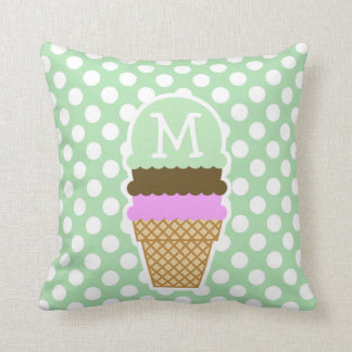 Celadon Green Polka Dots; Ice Cream Cone Throw Pillow