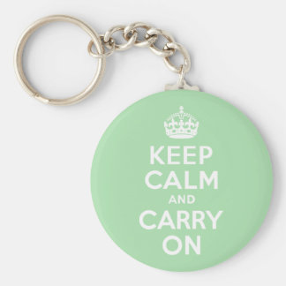 Celadon Keep Calm and Carry On Basic Round Button Key Ring