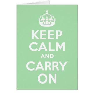 Celadon Keep Calm and Carry On Card