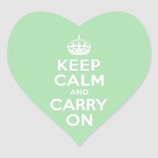 Celadon Keep Calm and Carry On Heart Sticker