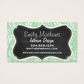 Celadon Paisley; Floral; Chalkboard look Business Card