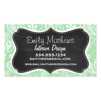 Celadon Paisley; Floral; Chalkboard look Pack Of Standard Business Cards