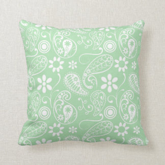 Celadon Paisley; Floral Cushion