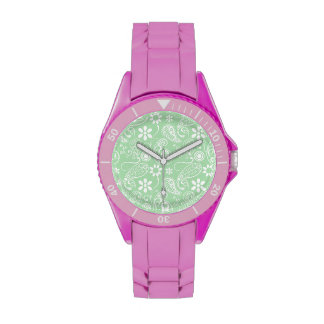 Celadon Paisley; Floral Watches