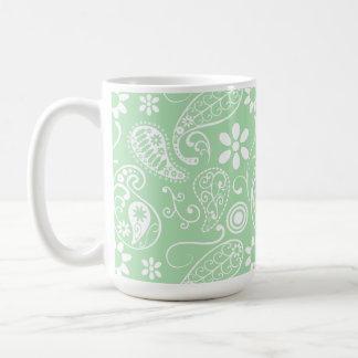 Celadon Paisley; Floral Basic White Mug
