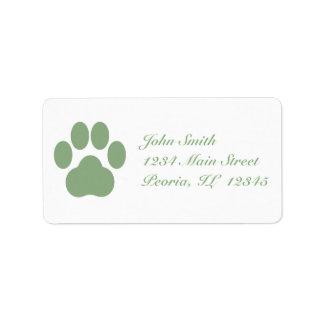 Celadon Pawprint Address Labels