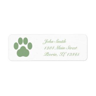 Celadon Pawprint Return Address Label