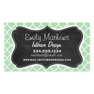 Celadon Quatrefoil; Chalkboard look Business Card