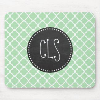 Celadon Quatrefoil; Chalkboard look Mouse Pad