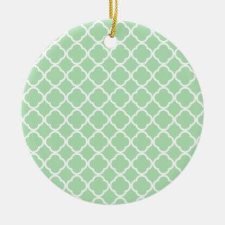 Celadon Quatrefoil Round Ceramic Decoration