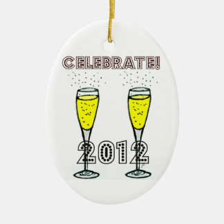 CELEBRATE 2012 CHAMPAGNE FLUTES PRINT Double-Sided OVAL CERAMIC CHRISTMAS ORNAMENT