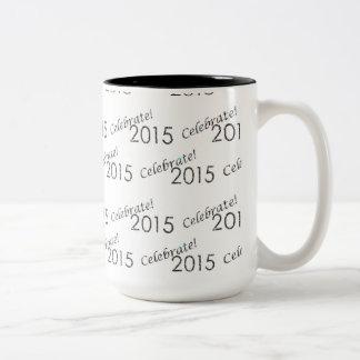 Celebrate 2015 New Year's Silver on White Mug