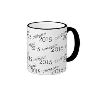 Celebrate 2015 New Year's Silver on White Mugs
