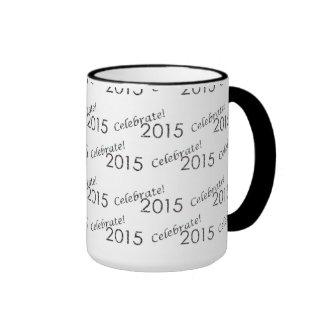 Celebrate 2015 New Year's Silver on White Coffee Mug
