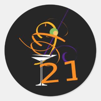 Celebrate 21ST Cocktail Classic Round Sticker