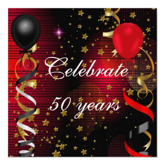 Celebrate 50 50th Birthday Party Black Red Stars Card