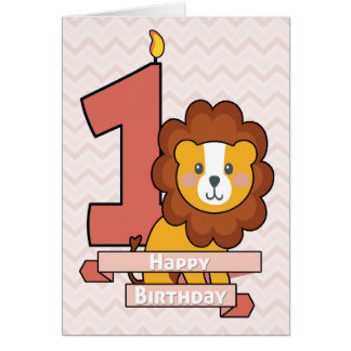 Celebrate a First Birthday with Cute Lion Greeting Card