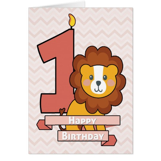 Celebrate a First Birthday with Cute Lion Card