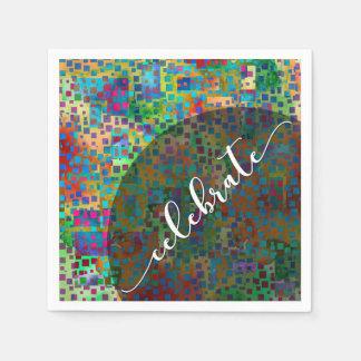 Celebrate: Abstract Colorful Confetti Graduation Paper Napkins