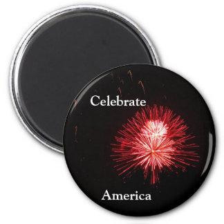 Celebrate America 6 Cm Round Magnet