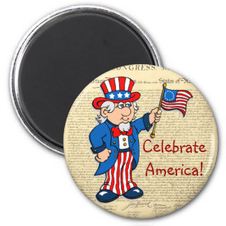 Celebrate America! 6 Cm Round Magnet