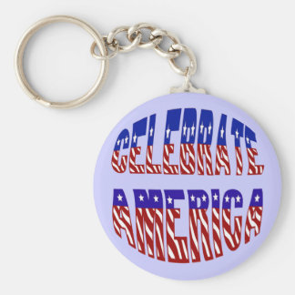 Celebrate America Flag Font #1 Keychain