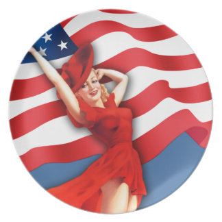 Celebrate America. Vintage Pin-Up Design Plates