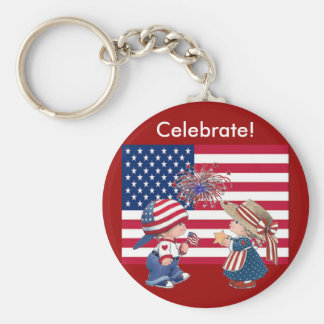 Celebrate American Flag Basic Round Button Key Ring