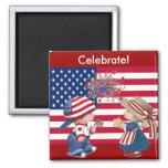 Celebrate American Flag Fridge Magnets