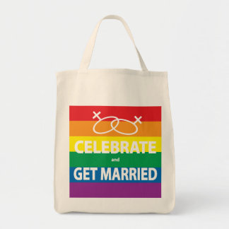 Celebrate and Get Married Grocery Tote Bag