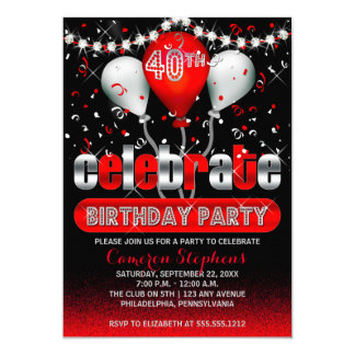 Celebrate Balloons Confetti 40th Birthday Party Card