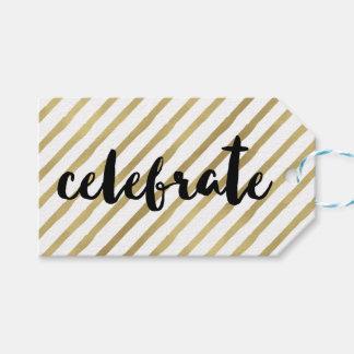 Celebrate | Black & Faux Gold Stripe Gift Tags
