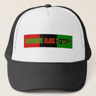 Celebrate Black History--Red, Black & Green Banner Trucker Hat