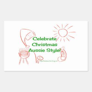 Celebrate Christmas Aussie Style! Rectangular Sticker