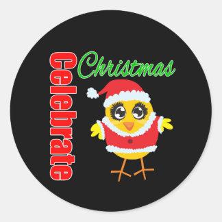 Celebrate Christmas Santa Chick Round Sticker