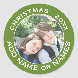 Celebrate Christmas with Your Favorite Photo Round Sticker