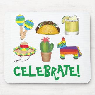 Celebrate Cinco de Mayo Fiesta Pinata Taco Cactus Mouse Mat