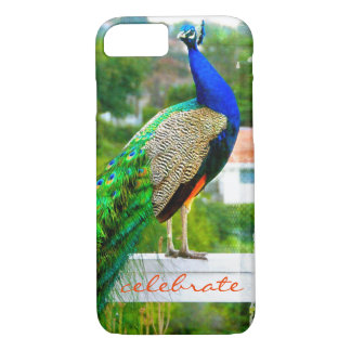 """Celebrate"" Cute, Stylish Blue Green Peacock Photo iPhone 8/7 Case"