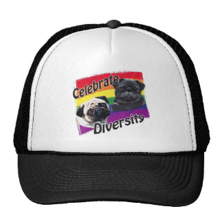 Celebrate Diversity Black and Fawn Pug Hats