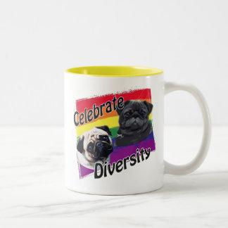 Celebrate Diversity Black and Fawn Pug Two-Tone Coffee Mug