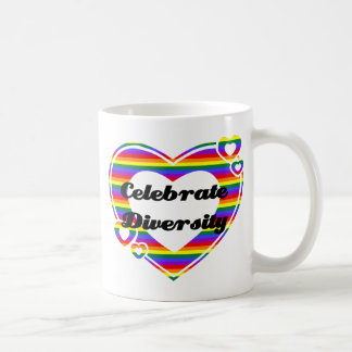 Celebrate Diversity Dark Text Basic White Mug