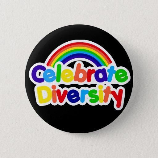 Celebrate Diversity Gay Pride Rainbow 6 Cm Round Badge