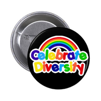 Celebrate Diversity Gay Pride Rainbow 6 Cm Round Badge