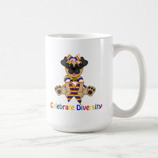 Celebrate Diversity Pug Tees and Gifts Basic White Mug
