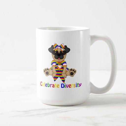Celebrate Diversity Pug Tees and Gifts Mug