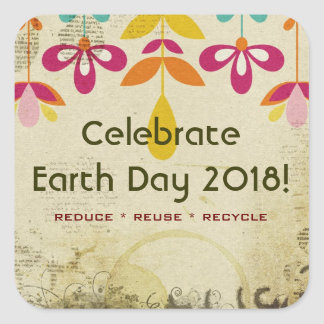 Celebrate Earth Day 2018 Abstract Floral Stickers