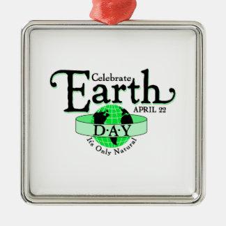 Celebrate Earth Day Silver-Colored Square Decoration
