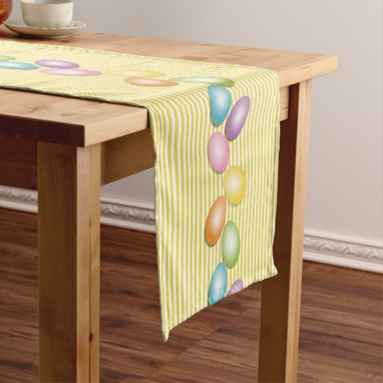 Celebrate Easter Cute Rainbow Egg Short Table Runner