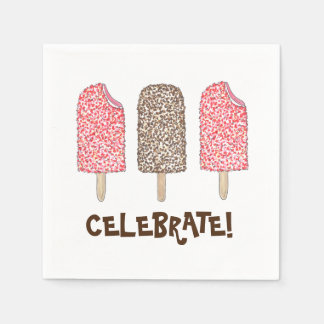 Celebrate! Eclair Ice Cream Popsicles Napkins Paper Napkin